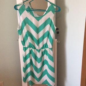 teal and white chevron pattern summer dress